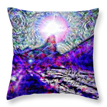Moon Over Needle Rock II Throw Pillow