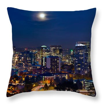 Moon Over Portland Oregon City Skyline At Blue Hour Throw Pillow by Jit Lim