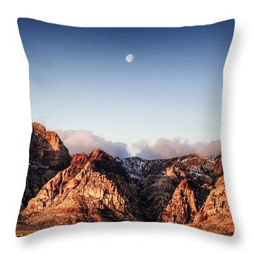 Moon Over Red Rock Canyon Throw Pillow by Michael White