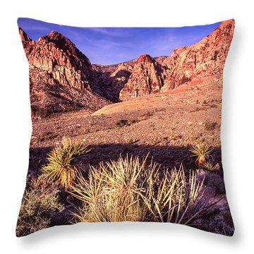 Moon Over Red Rock Canyon Throw Pillow