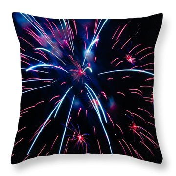 Moon Over Red White And Blue Starburst- July Fourth - Fireworks Throw Pillow by Penny Lisowski