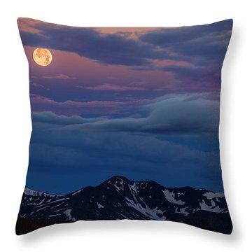 Moon Over Rockies Throw Pillow
