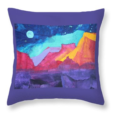 Throw Pillow featuring the painting Moon Over Sedona by Nancy Jolley