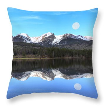 Moon Over Sprague Lake Throw Pillow