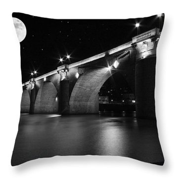 Moon Over The Alte Brucke Throw Pillow