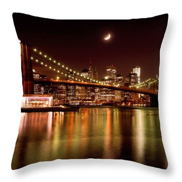 Moon Over The Brooklyn Bridge Throw Pillow