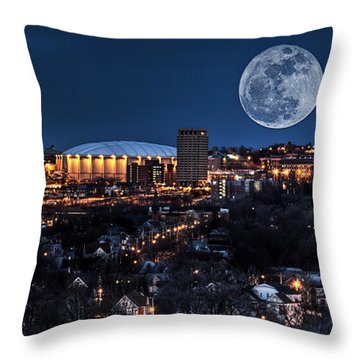 Moon Over The Carrier Dome Throw Pillow by Everet Regal