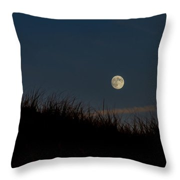 Moon Over The Dunes Throw Pillow by Brian Caldwell