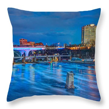 Moon Over The Mississippi Throw Pillow by Amanda Stadther