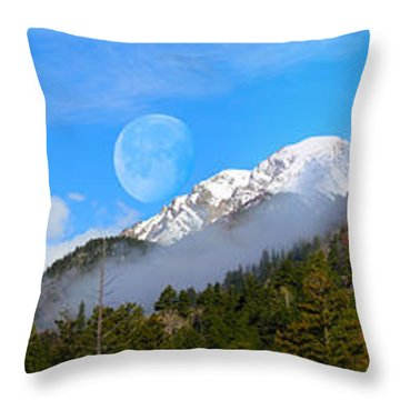 Moon Over The Rockies Throw Pillow