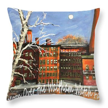 Throw Pillow featuring the painting Moon Over Waltham Watch by Rita Brown