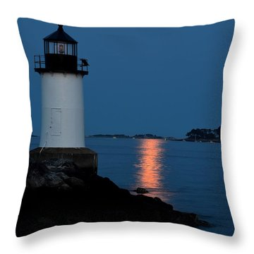 Moon Over Winter Island Salem Ma Throw Pillow
