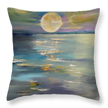 Moon Over Your Town/reflexion Throw Pillow by PainterArtist FIN