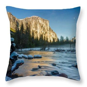 Moon Over El Capitan Throw Pillow