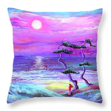 Moon Pathway,seascape Throw Pillow