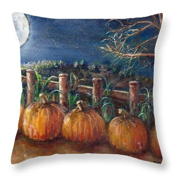 Moon Pumpkin Harvest Throw Pillow