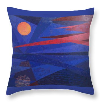 Moon Reflecting On A Lake Throw Pillow by Walter Casaravilla