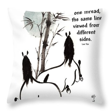 Throw Pillow featuring the painting Moon Reverence With Lao Tzu Quote I by Bill Searle