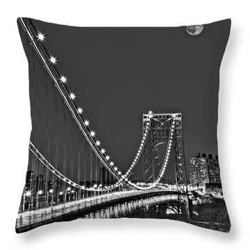 Moon Rise Over The George Washington Bridge Bw Throw Pillow by Susan Candelario