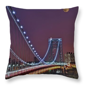 Moon Rise Over The George Washington Bridge Throw Pillow by Susan Candelario