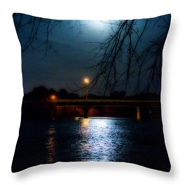 Moon Set Lake Pleasurehouse Throw Pillow