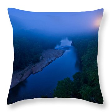 Moon Setting Over The Current River Throw Pillow