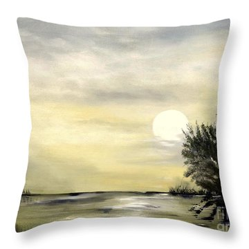 Throw Pillow featuring the painting Moon Shadow by Carol Sweetwood