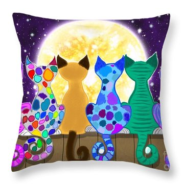 Moon Shadow Meow Throw Pillow by Nick Gustafson