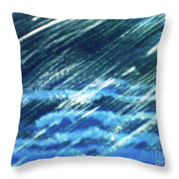 Throw Pillow featuring the painting Moon Shining Through Rain by Pamela  Meredith
