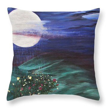 Throw Pillow featuring the painting Moon Showers by Cheryl Bailey