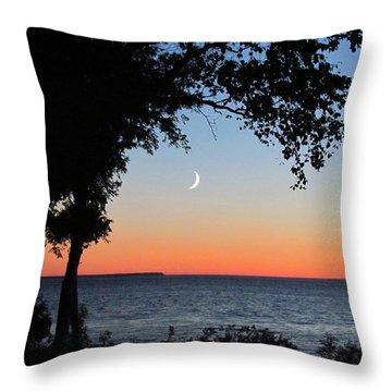 Moon Sliver At Sunset Throw Pillow
