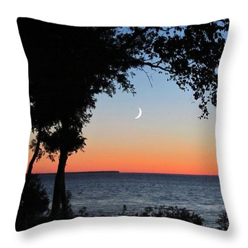 Moon Sliver At Sunset Throw Pillow