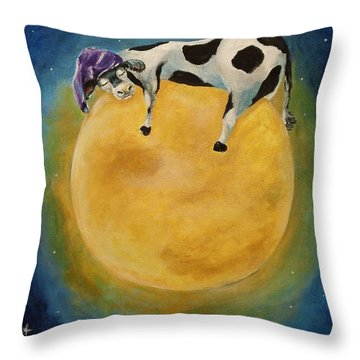 mOOn Snooze Throw Pillow by Dyanne Parker