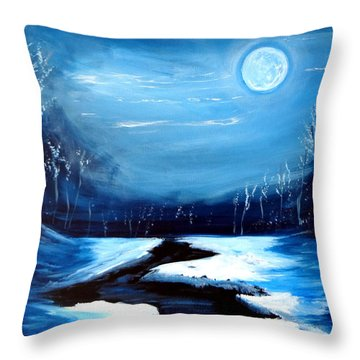 Moon Snow Trees River Winter Throw Pillow