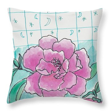 Moon Star And Flower Throw Pillow