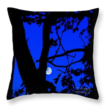 Throw Pillow featuring the photograph Moon Through Trees 2 by Janette Boyd