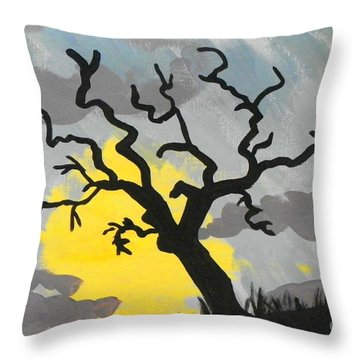 Throw Pillow featuring the painting Moon Tree by Marisela Mungia