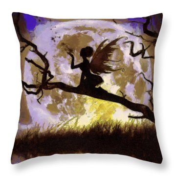 Throw Pillow featuring the painting Moonlight Fairy by Georgi Dimitrov