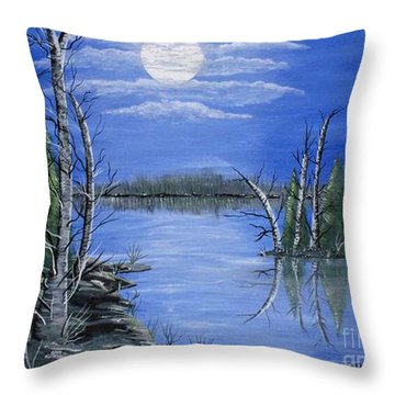 Throw Pillow featuring the painting Moonlight Mist by Brenda Brown