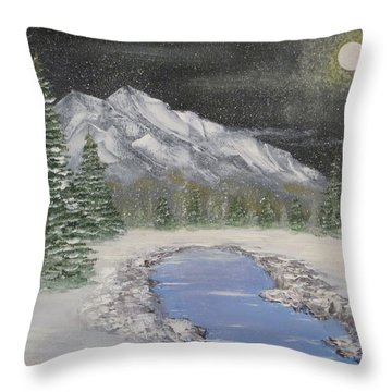 Moonlight Mountain Throw Pillow by Tim Townsend