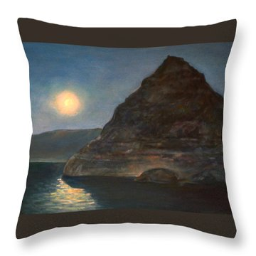 Moonlight On Pyramid Lake Throw Pillow