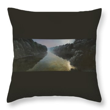Moonlight On The Great Pee Dee Throw Pillow by Blue Sky