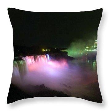 Moonlight Over A Luminous Niagara Falls N.y. Throw Pillow by Danielle  Parent