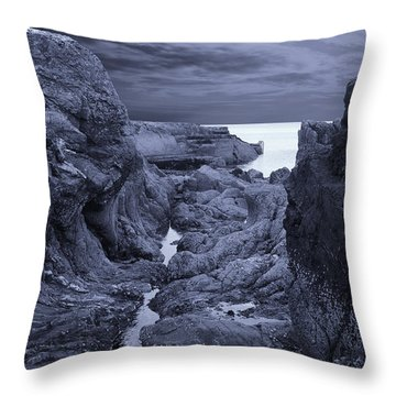 Throw Pillow featuring the photograph Moonlight Over Rugged Seaside Rocks by Jane McIlroy