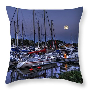 Throw Pillow featuring the photograph Moonlight Over Yacht Marina In Leba In Poland by Julis Simo