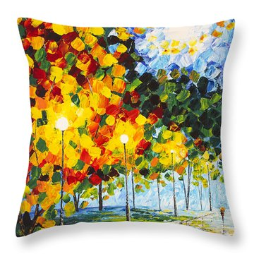 Throw Pillow featuring the painting Moonlight Raindrops Original Acrylic Palette Knife Painting by Georgeta Blanaru