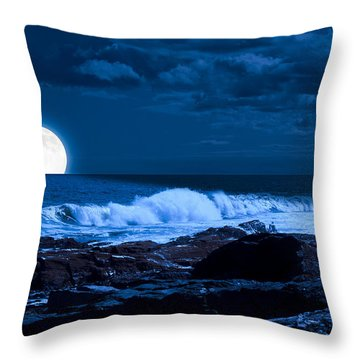 Moonlight Sail Throw Pillow by Fred Larson