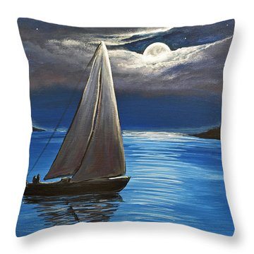 Moonlight Sailing Throw Pillow