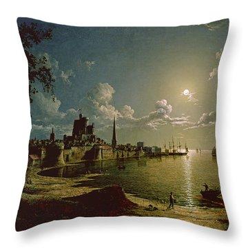 Moonlight Scene, Southampton, 1820 Throw Pillow