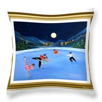 Moonlight Skating. Inspirations Collection. Card Throw Pillow